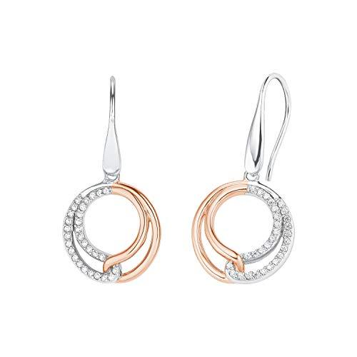 Amor - Pendientes redondos para mujer, plata de ley 925, parcialmente chapados en oro rosa, circonita blanca