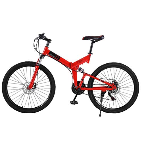 Foldable Mountain Bike, High Carbon Steel Cruiser Bicycle, 21 Speed, 26 Inch Bike for Adults, Commuter Bicycle City Road Bicycle (Red)