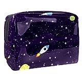 Bolsa de maquillaje portátil con cremallera, bolsa de aseo de viaje para mujeres, práctica bolsa de almacenamiento cosmético, espacio galáctico, ultra violeta galáctico