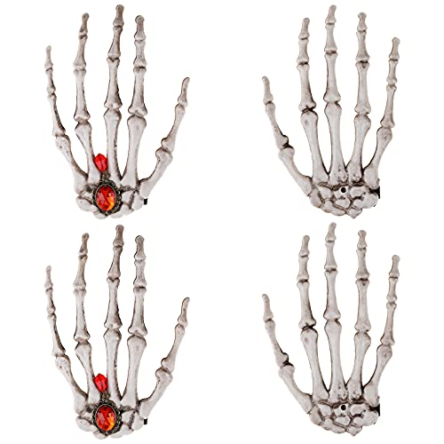 MWOOT 4PCS Halloween Hair Clips, Skull Claws Bone Hair Barrette for Women Girls Costume Cosplay Headpiece Accessories, Halloween Decoration Hands Model Terror Scary Props