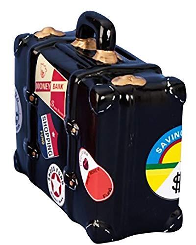 KAMACA Spardose aus Keramik KOFFER für die Reisekasse URLAUB Sparbüchse mit Stickern Sparschwein für Geldgeschenke Urlaubskasse (Koffer schwarz)