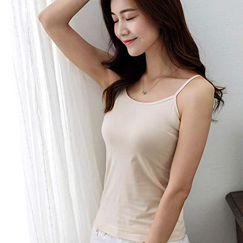 YongFeng Nueva Primavera y Verano de Color sólido Camisola de Cuello Redondo Damas Sexy Camisa de Fondo Camisola de Mujer Salvaje JF (Color : Skin, Size : Large Size)