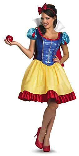 Disguise Disney Deluxe Sassy Snow White Costume, Yellow/Red/Blue, Medium/8-10