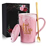 Coffee Mugs for Women - Best Wife Ever Birthday Gifts for Her - Wife Gifts Ideas from Husband - Funny Present Ceramic Marble Coffee Mugs 14 Oz Pink