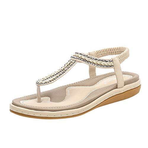 Ansenesna Sandalen Damen Sommer Flach,Metallic Zehentrenner Elastisch Sommerschuhe Offen Comfort Boho Schuhe (40, Beige)