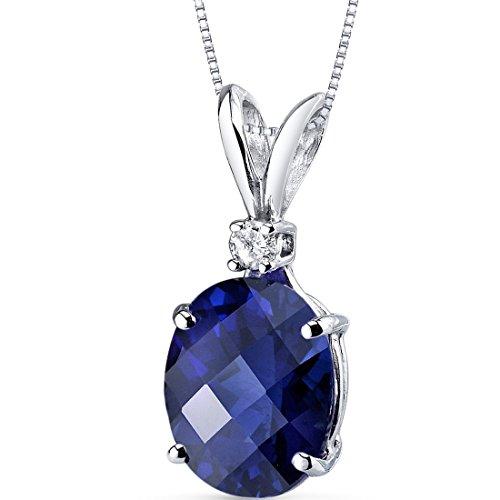 14 Karat White Gold Oval Shape 3.50 Carats Created Blue Sapphire Diamond Pendant
