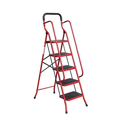 Escabeau d'escalier en métal de ménage Tabouret d'escalier pliant d'escalier en métal Escabeau (Color : Red2)