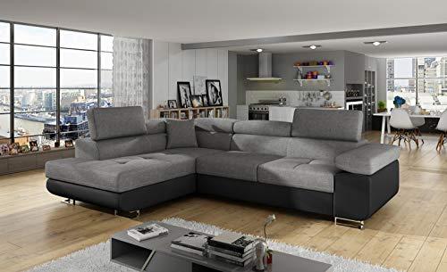 Ecksofa Antos mit Schlaffunktion Bettkasten Seite Rechts und Links Sofa Möbel 23 (Sawana 21+Soft 11, Links)
