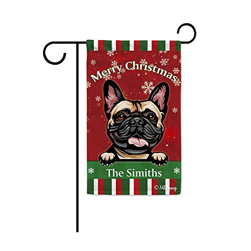 MALIHONG Merry Christmas Personalized Dog Garden Flag Cute Peeking Dog French Bulldog in Santa Hat Snowflake Xmas Green Red Banner for Indoor and Outdoor Decor 12.5X18 Inch Printed Double Sided