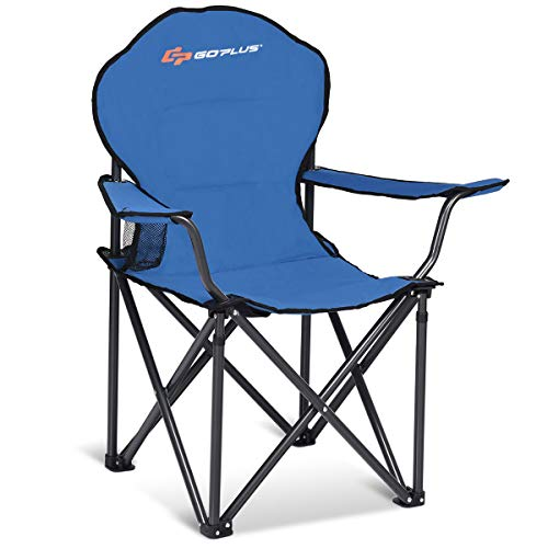 Goplus Folding Beach Chair Heavy Duty High Capacity Camping Chair Durable Outdoor Patio Seat with Cup Holder and Carry Bag (Blue 500-lb Capacity)