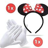 TK Gruppe Timo Klingler Minnie Maus Ohren Kostüm Set mit Handschuhen und Mausohren für Damen an...