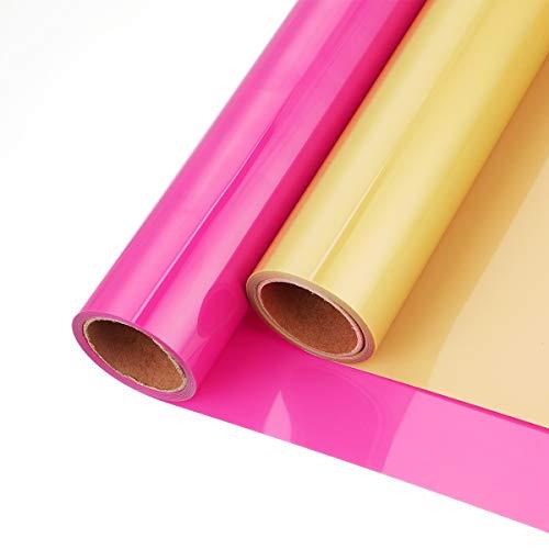 2 Rollos de Vinilo de Transferencia de Calor de 12 Pulgadas x 5 pies de Hierro Adhesivo Imprimible para Camisetas Artesanales Decoración de Tela para Silhouette Cameo (Oro + Rojo)