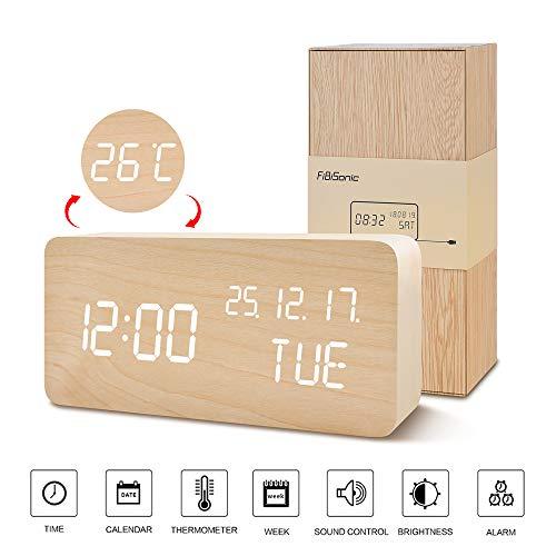 FIBISONIC Holz Digitaler Wecker, Digital LED Wecker mit 3 Einstellbare Helligkeit und Sprachsteuerung Uhrzeit anzeigen für Zuhause Schlafzimmer Office Kids Teens Bambus