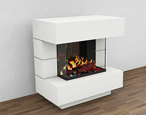 muenkel design London 900 Opti-glo - Chimenea eléctrica Opti-myst, color a elegir, sin calefacción, tubería de agua, bandeja de grava con piedras negras