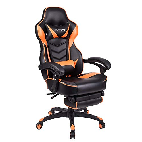 Video Gaming Chair Racing Office - PU Leather High Back Ergonomic Adjustable Swivel Executive Computer Desk Task for Adults Large Size with Footrest,Headrest and Lumbar Support (Orange)
