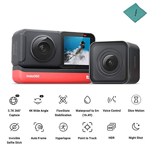 Insta360 ONE R Twin Edition Dual Lenses Sports Action Camera 5M Body Waterproof Supports FlowState Stabilization Hyperlapse Voice Control Slow Motion Night Shot HDR Photo Video