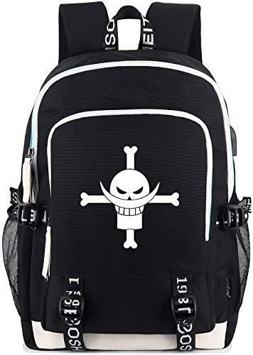 Roffatide Anime One Piece Whitebeard Pirates Laptop Backpack Luminous Printed Schoolbag Daypacks with USB Charging Port & Headphone Port Black