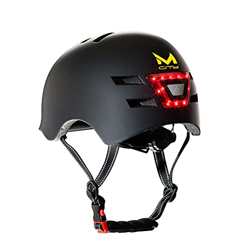 MOLTO| Casco con luz Frontal y Trasera LED para Adultos | Ideal para patinetes eléctricos, Bicicletas, Scooter o monopatín| Resistente y Duradero | Funciona con baterias Recargables ✅