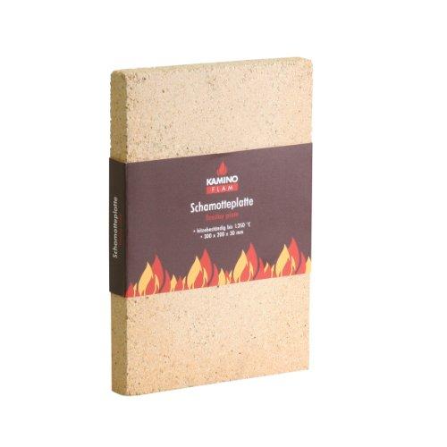 KaminoFlam Schamotteplatte - hitzebeständig bis 1250 Grad , 300 x 200 x 30 mm