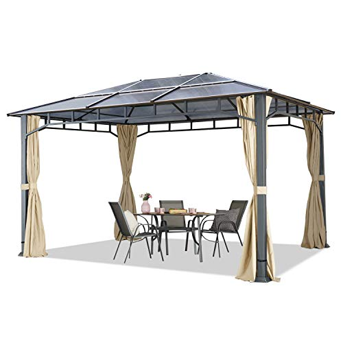 TOOLPORT Gartenpavillon 3x4 m Aluminium Gestänge Polycarbonat Dach ca. 8mm Pavillon Gartenzelt 4 Seitenteile Champagner