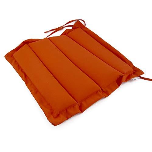 Edenjardi Cojín para sillas de jardín Color Naranja, Tamaño 37x37x5 cm, Repelente al Agua