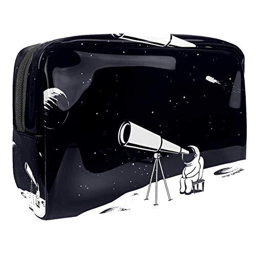 TIZORAX Astronaut Observe Door Telescoop Op De Maan Cosmetische Tassen PVC Make-up Tas Reizen Toiletten Handige Pouch Organizer voor Vrouwen