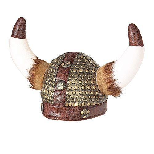 Widmann 09169 Vikingerhelm mit Fell, Unisex– Erwachsene, Gold/Braun, Einheitsgröße