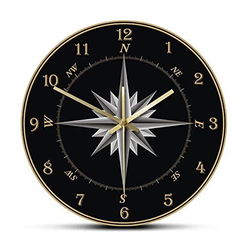 Reloj de Pared con brújula de Marinero brújula Rosa decoración náutica para el hogar navegación Reloj de Pared de Barrido silencioso Redondo Regalo de Marineros-No Frame