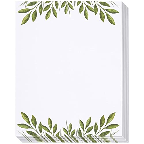 48 Pack Leaf Themed Stationery Writing Paper Set, Letter Size (8.5 x 11 In)