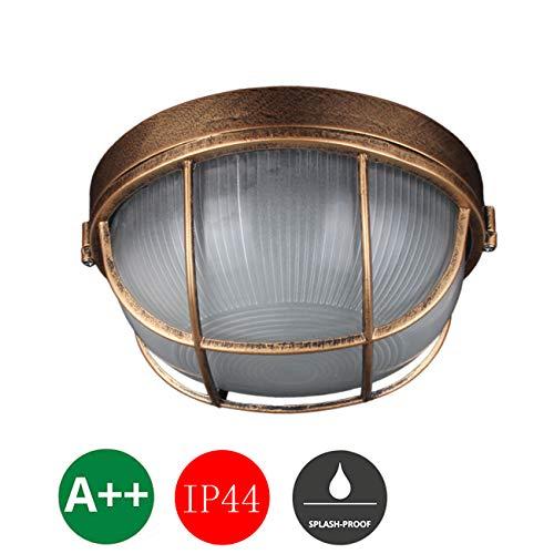 WYHYQY Badlampe, Deckenstrahler, Retro LED Wandleuchte, Vintage LED-Spot, Deckenfluter, Decken-Lampe, Wand-Lampe, Metall, Wandlampe, Wand-Spot, Decken-Spot, 1×MAX40W, IP44, 240V,Groß