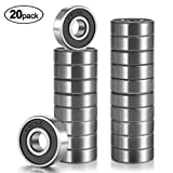 ANCIRS, 20 Pack 608-2RS Ball Bearing - Double Rubber Sealed Shielded Miniature Deep Groove 608rs Bearings for Skateboards, Inline Skates, Scooters, Roller Blade Skates & Long boards (8mm x 22mm x 7mm)