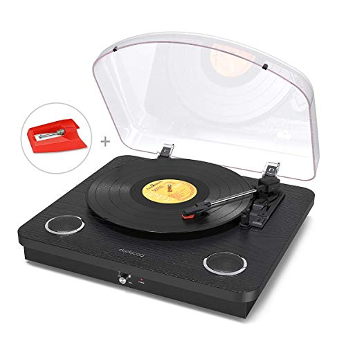 Vinyl Record Player, dodocool 3 Speed Turntable Blue Tooth Record Player with 2 Built in Stereo Speakers, Replacement Needle, Supports RCA Line Out, AUX in, Headphone Jack, Natural Wood