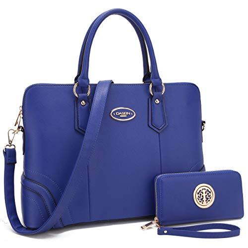 Women's Fashion Handbag Slim Two Tone Shoulder Bag Satchel Purse Top Handle Bag (Royal Blue)