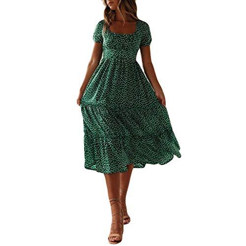 Vestido de verano para mujer con estampado floral y margarita, manga corta, para verano, informal, flotante, largo para la playa, fiesta, boda, vestido de verano