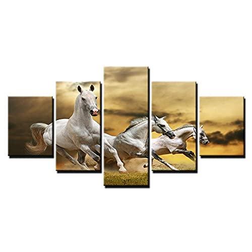 wangdazhuang 5 Lienzos Cuadros Grandes Baratos Caballos Blancos Corriendo - Animal Cartel De La Decoración De Arte De La Sala De Estar con El Marco-150X80Cm