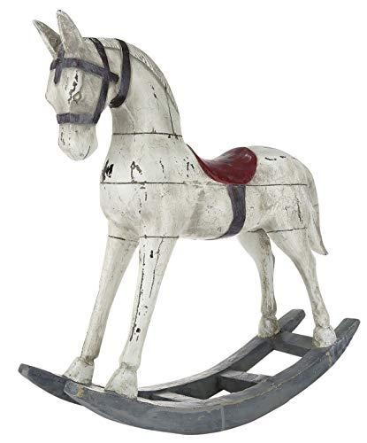 dekojohnson XXL Schaukelpferd Deko-Figur Vintage - Nostalgie Weihnachtsdeko - beige rot grau antik -...
