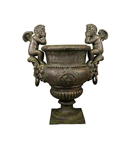 HTdeco - Jardin - Vasques et vases - Vase en Fonte Medicis angelots H: 99 cm