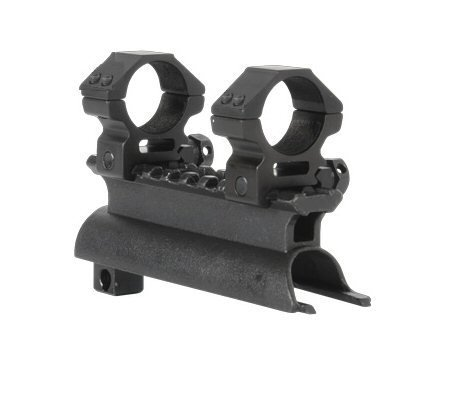 AR-GEAR OEM Black Steel SKS Rifle See Through Receiver Cover Replacement High Profile Tactical Scope Weaver Picatinny Rail Mount Complete With 1' Rings