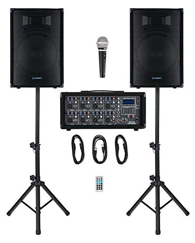 McGrey BP-215 Bandpack PA-Anlage - 8-Kanal Powermixer - digitaler Hall - Bluetooth - USB/SD-Slot - 2-Wege-Lautsprecher mit 15