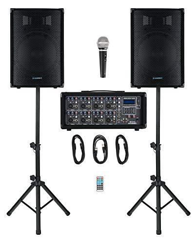 """McGrey BP-215 Bandpack PA-Anlage - 8-Kanal Powermixer - digitaler Hall - Bluetooth - USB/SD-Slot - 2-Wege-Lautsprecher mit 15\"""" Woofer und Horn - Inklusive Mikrofon, Stative und Kabel - 150 Watt"""
