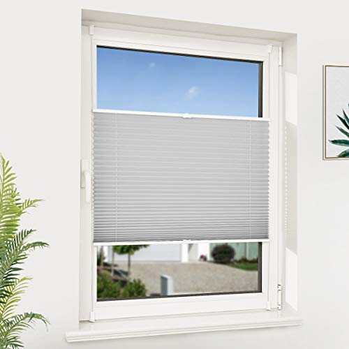 NoCon Plissee ohne Bohren klemmfix Jalousie Faltrollo Plisseerollo für Fenster und Tür lichtundurchlässig Easyfix Sonnenschutz, 70x130cm (BxH) Grau