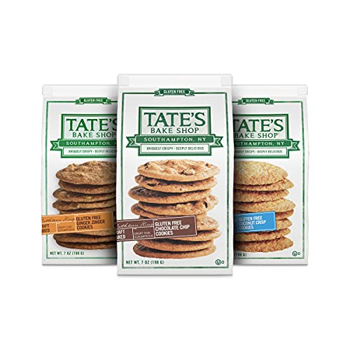 Tate's Bake Shop Gluten Free Cookies Variety Pack, Coconut Crisp, Ginger Zinger and Chocolate Chip Cookies, 3 - 7 oz Bags