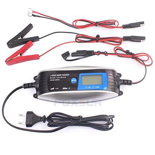 healthwen FOXSUR 6V 12V Cargador de batería automático Inteligente a Prueba de Agua para Motocicleta y Coche EFB AGM Gel Cargador de batería de reparación de Pulso Azul EU
