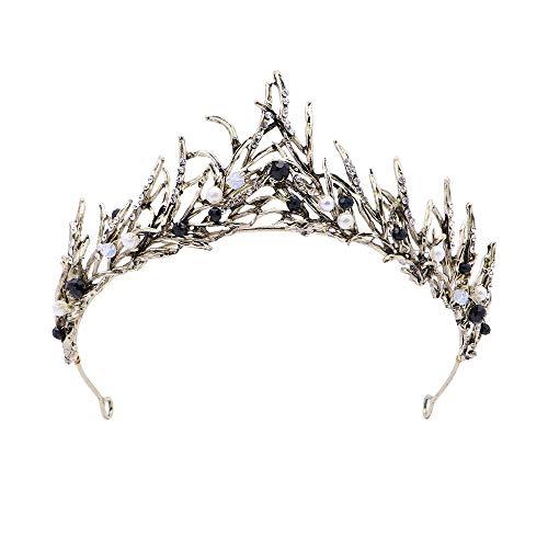 Deer Platz Corona Principessa Capelli Vintage, Perla diadema Foglia Oro Fatto a Mano, Accessorio per Capelli diadema da Sposa Corona Nuziale Prom