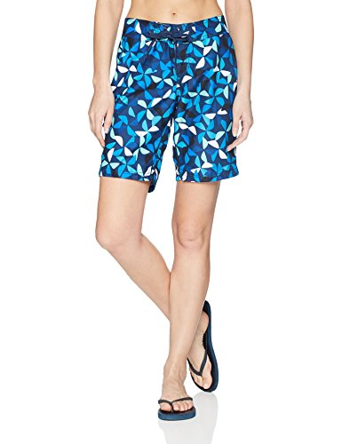 Kanu Surf Damen UPF 50+ Active Printed Swim and Workout Board Short Boardshorts, Audrey Navy, 38