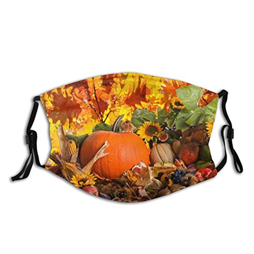 Thanksgiving Pumpkin Face Mask With Filter Pocket Washable Reusable Face Bandanas Balaclava With 2 Pcs Filters