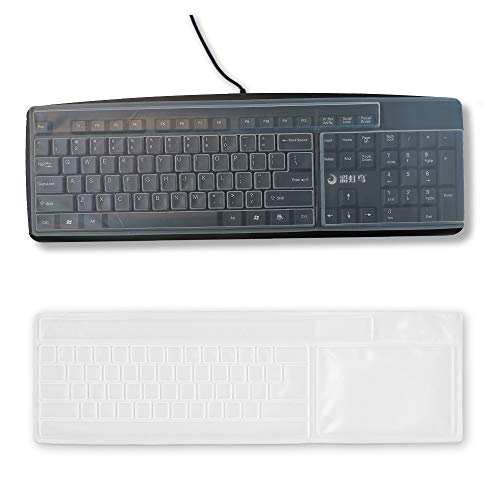 Reusable Waterproof Keyboard Cover, Universal Clear Anti-Dust Keyboard Skin Protector Cover for 104/107 Keys Standard Desktop Keyboard (2 Pack)