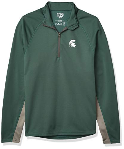 OTS NCAA Michigan State Spartans Men's Poly Fleece 1/4-Zip Pullover, Logo, Large