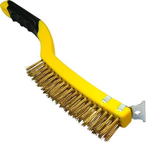 AERZETIX - Cepillo de alambre de Hierro con raspador 3 filas - Longitud 350mm - Raspador/Metálico de Mano - Mango de plástico - Limpieza/Decapado/Pintura/Óxido - Pelos de Acero/Latón - C45945