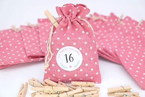 24 sacchettini di stoffa rosa 1 calendario dell'Avvento 10 x 14 cm ghirlanda adesivi graffette